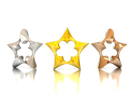 sci: abstract 3d stars - gold, silver, bronze Stock Photo