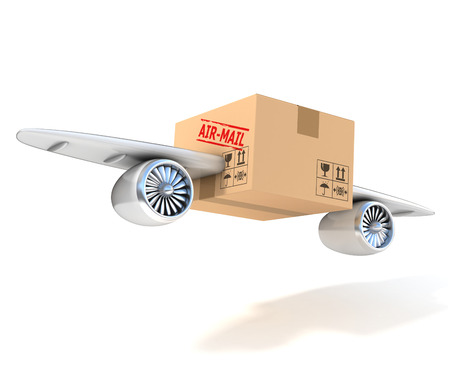 air mail 3d concept - cardboard box with wings and jet engines photo