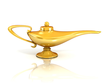 Aladdin magic lamp 3d illustration Stock Photo