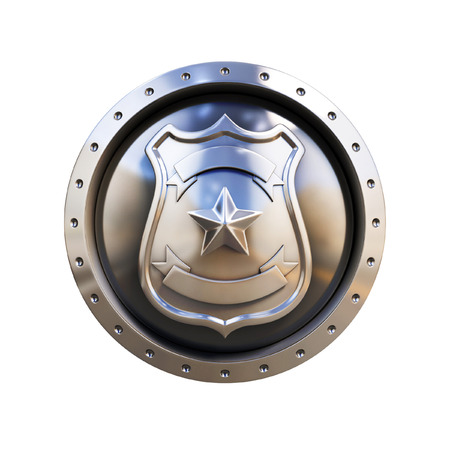 police icon: blank 3d badge