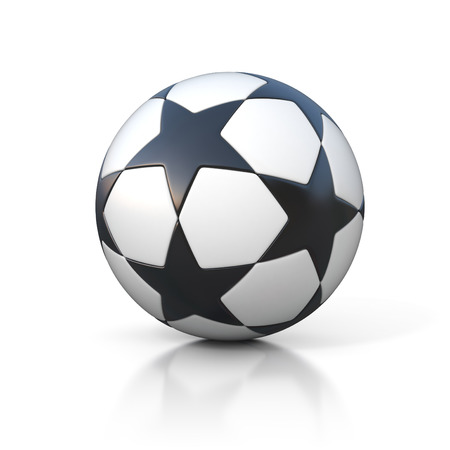 sports winner: football - soccer ball with star pattern isolated on white Stock Photo