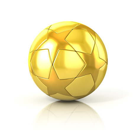 golden football - soccer ball with star pattern isolated on white photo