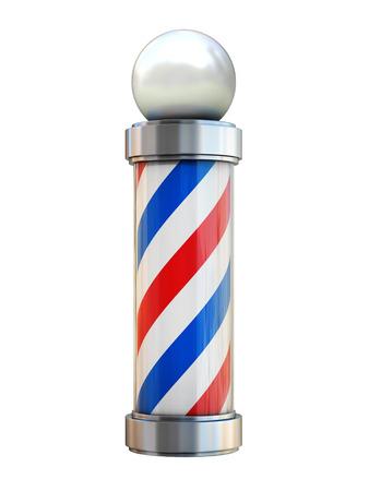 peluquero: barber�a polo aislado en blanco