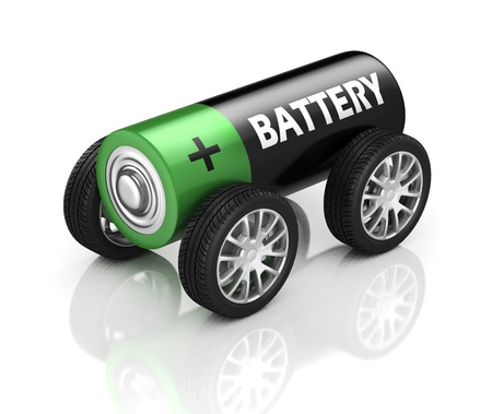 battery: electric car 3d concept - battery on wheels