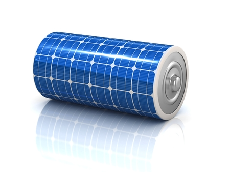 storage: solar power 3d concept - solar panel battery Stock Photo