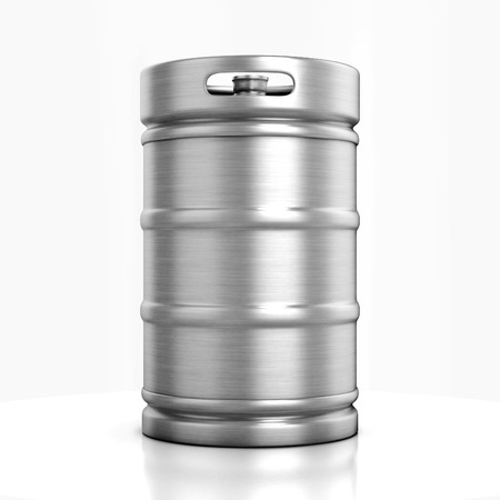 stainless steel: beer keg isolated on white