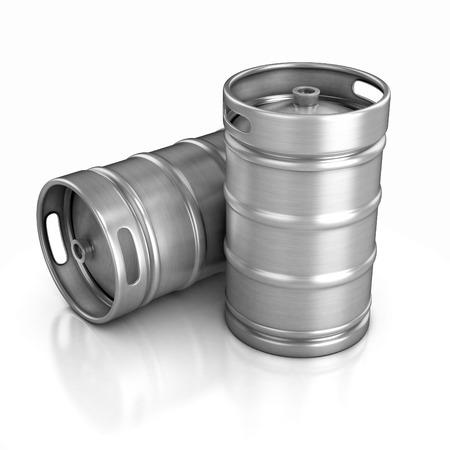kegs: two beer kegs 3d illustration Stock Photo