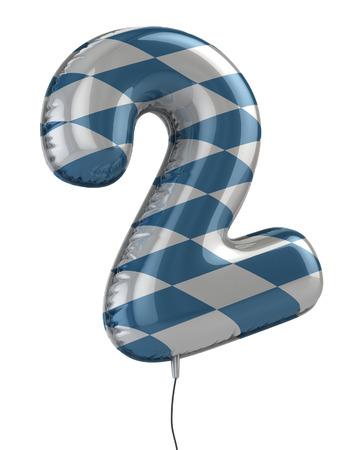 school carnival: number 2 balloon 3d illustration