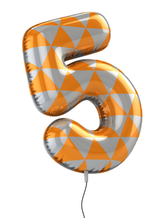 numbers background: number 5 balloon 3d illustration
