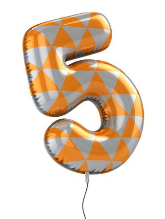Number 5: number 5 balloon 3d illustration