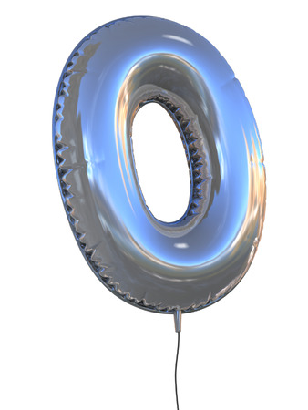 number 0 balloon 3d illustration