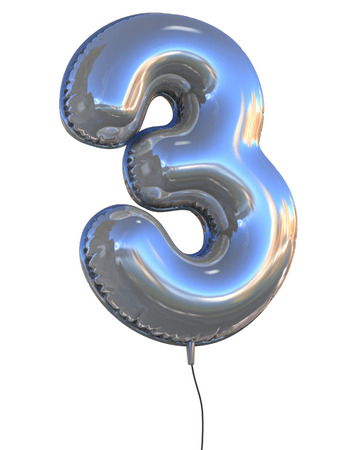 three colors: number 3 balloon 3d illustration Stock Photo