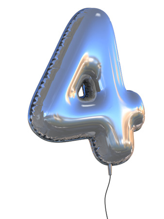 number 4 balloon 3d illustration 写真素材