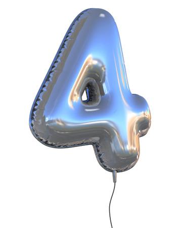 cuatro elementos: número 4 del globo 3d ilustración