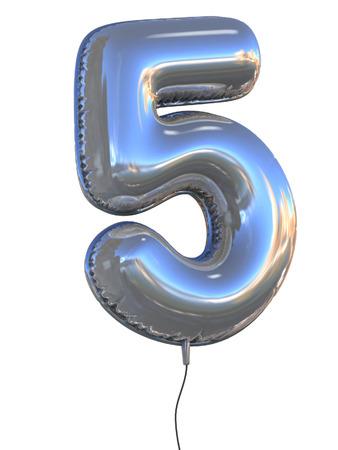 nummer 5 ballon 3D-afbeelding