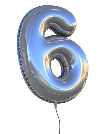 les chiffres: Numéro 6 ballon 3d illustration Banque d'images