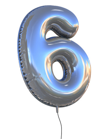 six: number 6 balloon 3d illustration