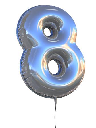 nummer 8 ballon 3D-afbeelding Stockfoto