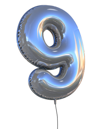 number 9 balloon 3d illustration