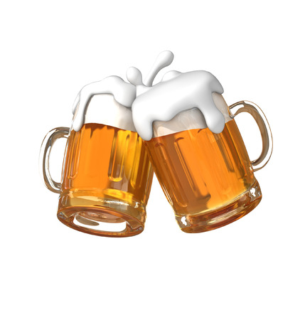 Pair of beer glasses making a toast. Beer splash Archivio Fotografico