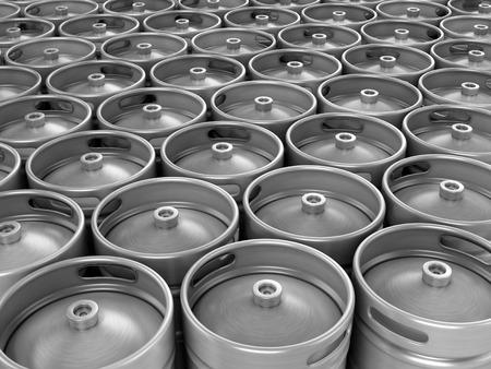 beer production: Beer kegs 3d background
