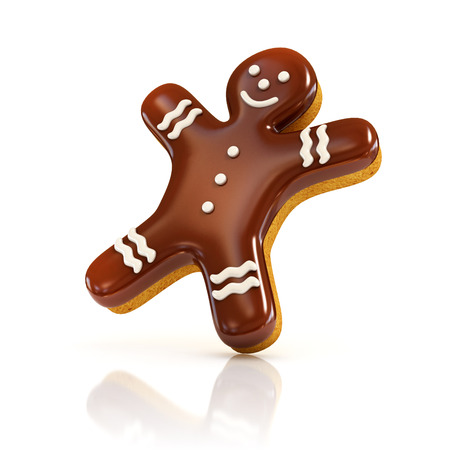 white chocolate: chocolate biscuit gingerbread man 3d illustration