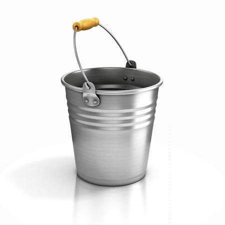 bucket of water: metal bucket isolated on white