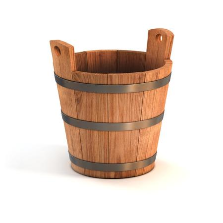 木製のバケツを白で隔離 写真素材