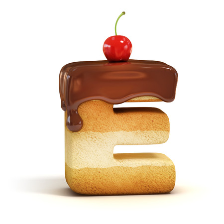 taart 3d lettertype letter E