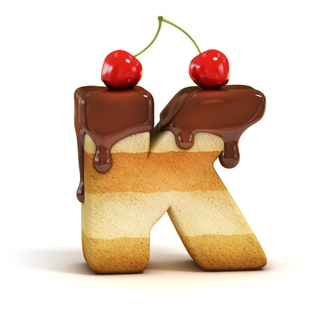 cake 3d font letter K photo