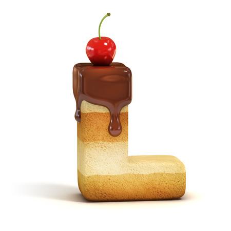 cake 3d font letter L