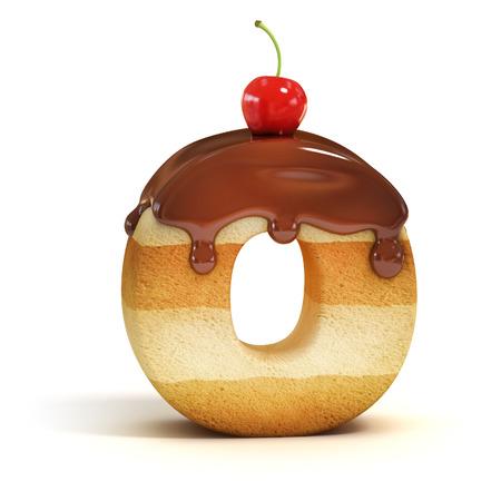cake 3d font letter O