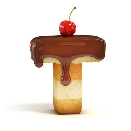 Lettre 3d gâteau de police T Banque d'images - 37170705