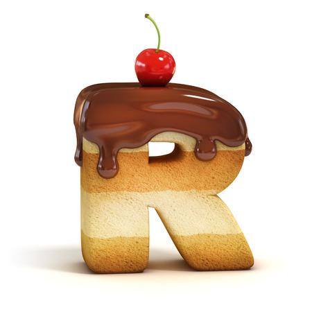 tortas de cumpleaños: pastel de fuente 3d letra R