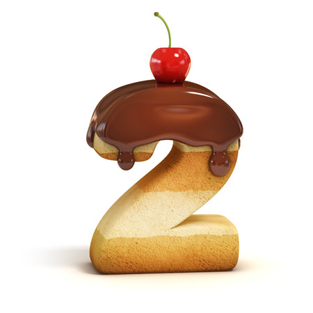 cake 3d font number 2 Stock Photo
