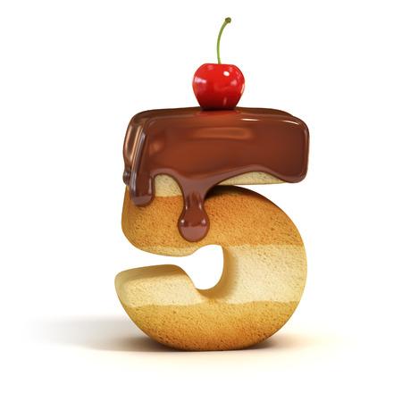 cake 3d font number 5 photo