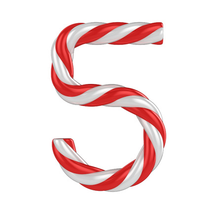 christmas candy cane 3d font - number 5 photo