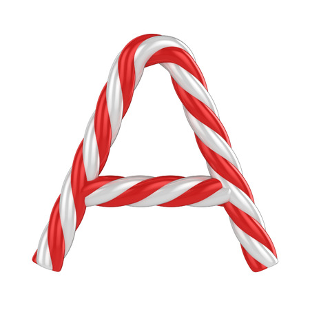 candy cane background: christmas candy cane font - letter A Stock Photo