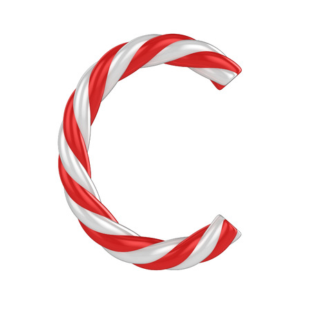 christmas candy cane font - letter C Stock Photo