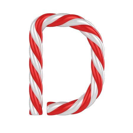 christmas candy cane font - letter D Stock Photo
