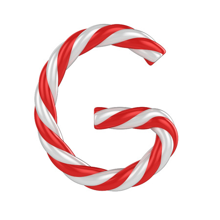 christmas candy cane font - letter G photo