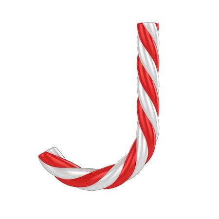 christmas candy cane font - letter J Stock fotó