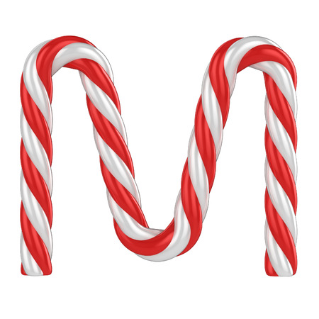 candy cane background: christmas candy cane font - letter M