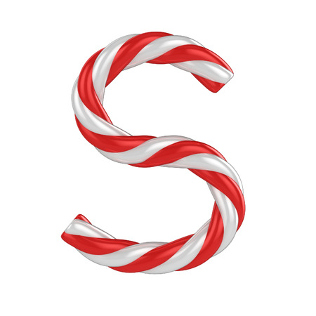 christmas candy cane font - letter S