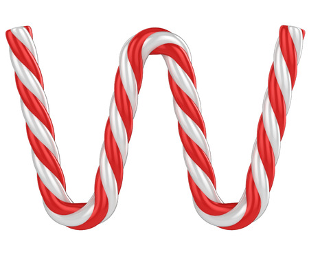 cane sugar: christmas candy cane font - letter W Stock Photo