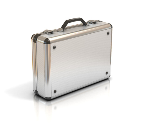 briefcase: metallic suitcase briefcase isolated on white