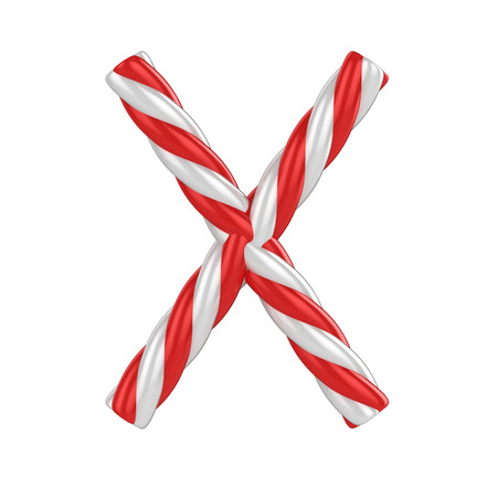 letter x: christmas candy cane font - letter X