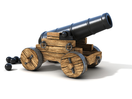 cannon on a white background Imagens