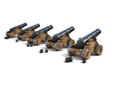 cannons on a white background photo