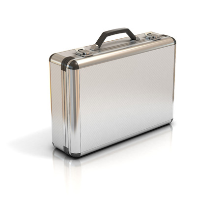 brief case: metallic suitcase briefcase isolated on white